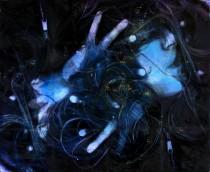 Self-Portrait as a Butterfly Nebula acrylic and oil on canvas 75 cm x 65 cm