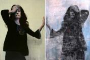 Mirror, mirror acrylic and oil on canvas Diptych - each canvas 55 cm x 75 cm