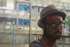 Open Windows: Wana on the Robin Hood Gardens Estate acrylic and oil on canvas 125 cm x 85 cm
