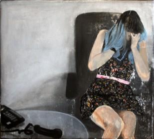 Telephonophobia acrylic and oil on canvas 51 cm x 46 cm